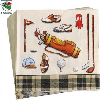 20 serviettes en papier, thème Golf