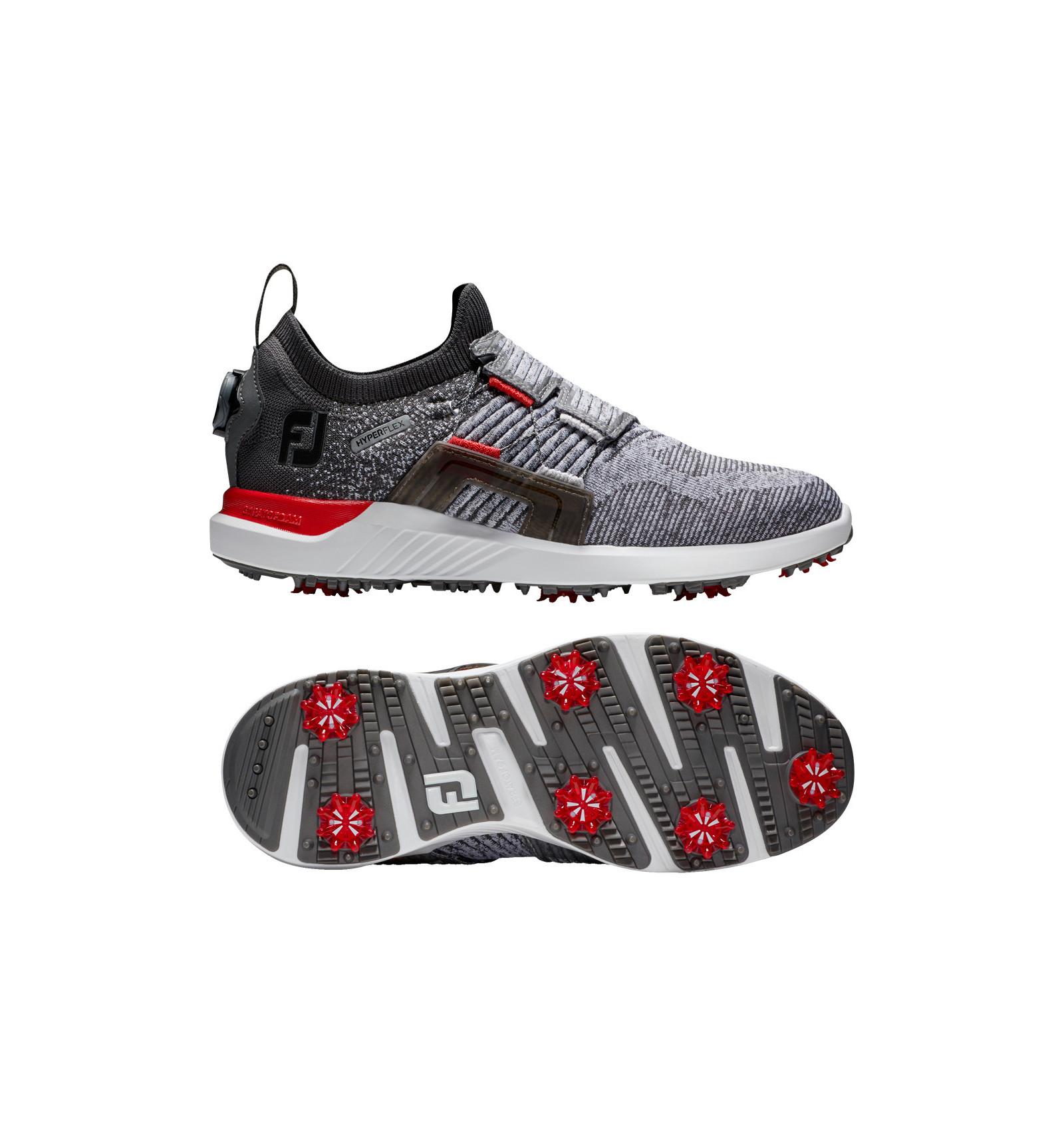 Chaussures de golf FootJoy Hyperflex BOA Grey Black Red - La Route ...